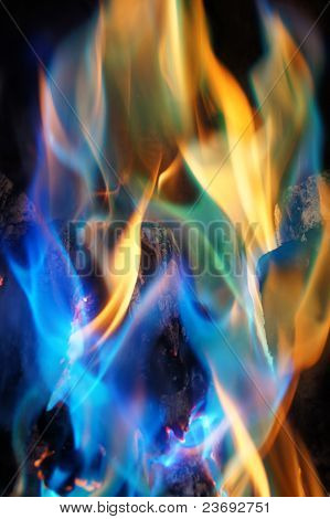 Abstract Blue and Orange Flames