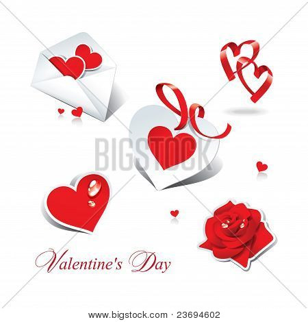 Set Of Romantic Icons And Stickers For Themes Like Love, Valentine's Day, Holidays.
