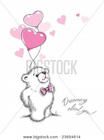 Teddy Bear Keeps The Balloons In The Form Of Hearts. Hand Drawn Illustration, Vector.