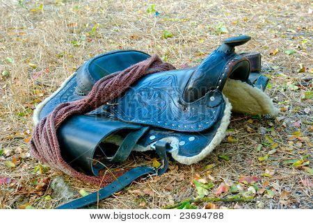 A dark brown saddle