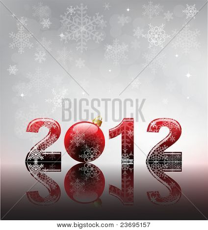 2012 flyer template. 2012 written in glossy letters with bauble as the zero. Snow and reflection on silver snowflake background with space for your text.  EPS10 vector format.