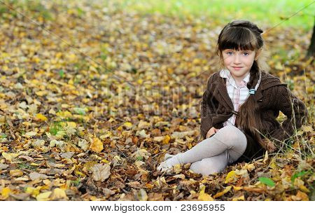 Cute Child Girl Sitting On Carpet Of Autumn Leaves