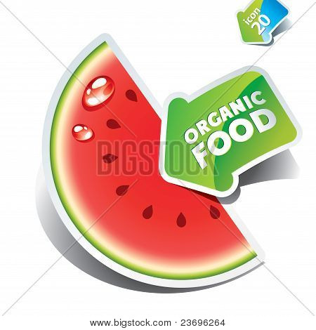 Icon Watermelon Slice With The Arrow By Organic Food.