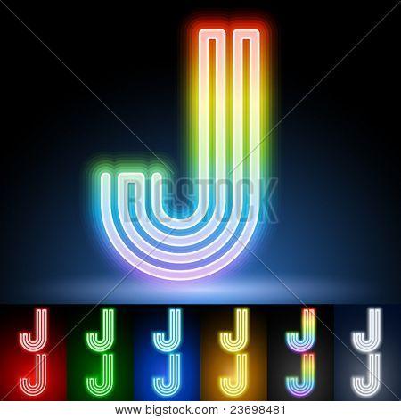 Alphabet of neon tubes. letter j