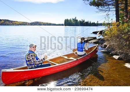 Canoeing Near Lake Shore