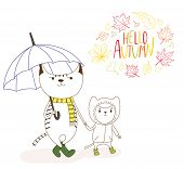 Hand Drawn Vector Illustration Of Cute Cats, Big Holding An Umbrella And Little In A Rain Coat, With poster