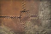 Old Metal Surface With Rivets Background Photo poster