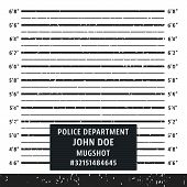 Police Mugshot Board Template. Grunge Textured Police Lineup Mug Shot. Vector Illustration. poster
