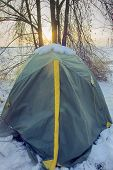 Tent Is Covered With Snow, Overnight Hikers In Forest poster