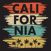 California Typography Print For Design T-shirt With Palm Trees And Gull. Graphic Design For Apparel, poster