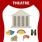 Theater. Composition Of A Set Of Theatrical Objects. Isolated Theatrical Objects On White Background poster