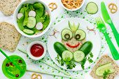 Healthy Sandwich For Kids, Frog Sandwich From Whole Wheat Bread And Cucumber, Funny Sandwich Idea Fo poster
