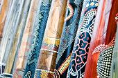 stock photo of didgeridoo  - Several long didgeridoos from Australia for sale - JPG