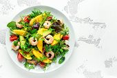 Fresh Avocado, Shrimps, Mango Salad With Lettuce Green Mix, Cherry Tomatoes, Herbs And Olive Oil, Le poster
