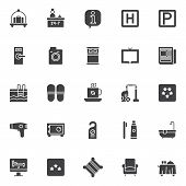 Hotel Elements Vector Icons Set, Modern Solid Symbol Collection, Filled Style Pictogram Pack. Signs, poster
