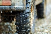 Closeup Of An Offroad Car Tyre In The Mud poster