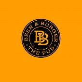 Bb Letter. Beer Pub Logo. Beer And Burger Pub Emblem.  Monogram Double B In A Circle On A Yellow Bac poster