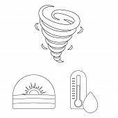 Different Weather Outline Icons In Set Collection For Design.signs And Characteristics Of The Weathe poster