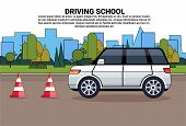 Driving School Poster, Car On Road, Auto Drive Education Practice Exam Concept Flat Vector Illustrat poster