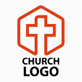 Christian Churches Logo Line Art In The Form Of A Cross Intended For Christian Religious Organizatio poster