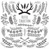 Hand Drawn Vintage Branches, Wreath Border Frames Antlers, Feathers, Arrows. Rustic Floral Decorativ poster
