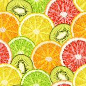 Vector Seamless Pattern From Exotic Tropical Fruits Slices. Lemon, Grapefruit, Orange, Lime And Kiwi poster