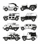 Monochrome Pictures Of Military Vehicles. Illustrations Of Army. Vector Vehicle Military, Transport  poster