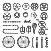 Gears, Chains, Wheels And Other Different Parts Of Bicycle. Bike Pedal And Elements For Cycle Biking poster