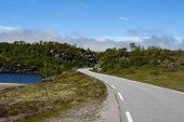 pic of long winding road  - empty mountain road at the Norwegian mountains - JPG