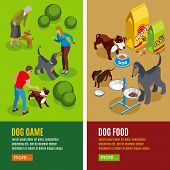 Set Of Vertical Isometric Banners Dog Game And Canine Food Isolated On Green Beige Background Vector poster