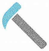 Hammer Collage Of Circle Dots In Various Sizes And Color Shades. Small Circles Are Organized Into Ha poster