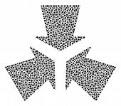 Shrink Arrows Collage Of Round Dots In Various Sizes And Color Tones. Small Circles Are Combined Int poster