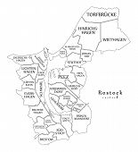 Modern City Map - Rostock City Of Germany With Boroughs And Titles De Outline Map poster