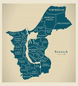 Modern City Map - Rostock City Of Germany With Boroughs And Titles De poster