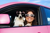 Woman And Dog In Pink Car On Summer Road Trip Vacation. Funny Dog With Sunglasses Traveling. Travel  poster