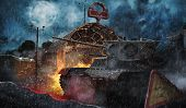 The Tank At The Entrance To The Metro During The Post-apocalypse poster