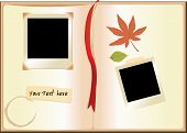 stock photo of storyboard  - pictures along with floral board with note space - JPG