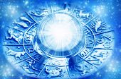 image of zodiac  - zodiac with astrological symbols and crystal ball with light - JPG