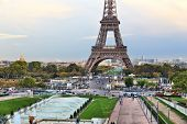 Paris, France - Trocadero Gardens And Eiffel Tower. poster