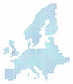 Snowflake European Union Map. Vector Geographic Map In Blue Frost Colors. Vector Composition Of Euro poster