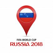Fifa World Cup 2018. Location - Moscow, Russia. Soccer World Cup 2018. Big Red Map Marker With Flag  poster