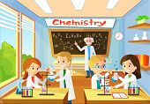 Vector Cartoon Background With Chemistry Classroom, And Character Students. Interior Inside. Educati poster