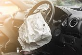 Airbag Exploded At A Car Accident,car Crash Air Bag,airbag Work With Illuminated poster