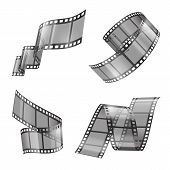 Vector Realistic Set Of Film Strip, Movie Or Photo Tape, Curved Fragments, Empty And Transparent Iso poster