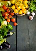 stock photo of wooden basket  - abstract design background vegetables on a wooden background - JPG