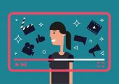 Flat Illustration Of Successful Video Blogger. Girl With Video Frame And Video Theme Icons - Camera, poster