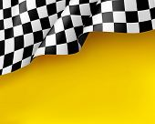 Symbol Racing Canvas Realistic Yellow Background. Flag Upright, Sign Marking Start And Finish. Vecto poster