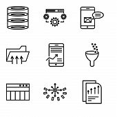 Set Of 9 Simple Editable Icons Such As Bars Chart Page, Data Analytics Circular, Table For Data, Dat poster