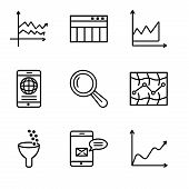 Set Of 9 Simple Editable Icons Such As Data Wave Chart, Data Analytics Bars, Data Analytics, Stock,  poster