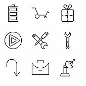 Set Of 9 Simple Editable Icons Such As Satellite Dish, Office Briefcase, Arrow Pointing To Down, Wre poster